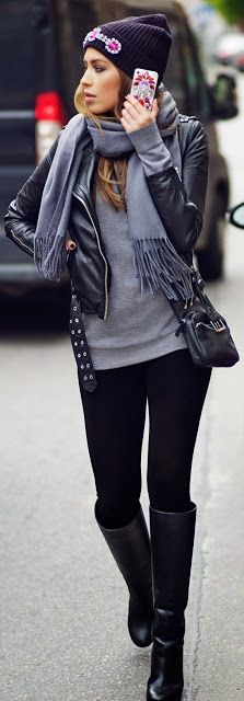 Latest fashion trends: Street style | Edgy black leather outfit
