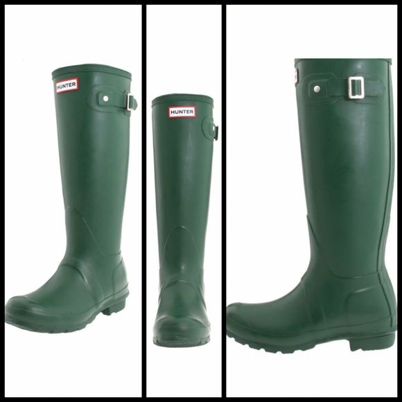 Green Hunter Original Tall Boots  Hunter Original Tall Boots in Green • Size 38, which fits 7.5-8 • I am reposhing these, as I don't think I'll ever wear them  They are New in the box, but the box is an odd size -> I will probably ship the boots in a regular USPS or brown box Hunter Boots Shoes Winter & Rain Boots