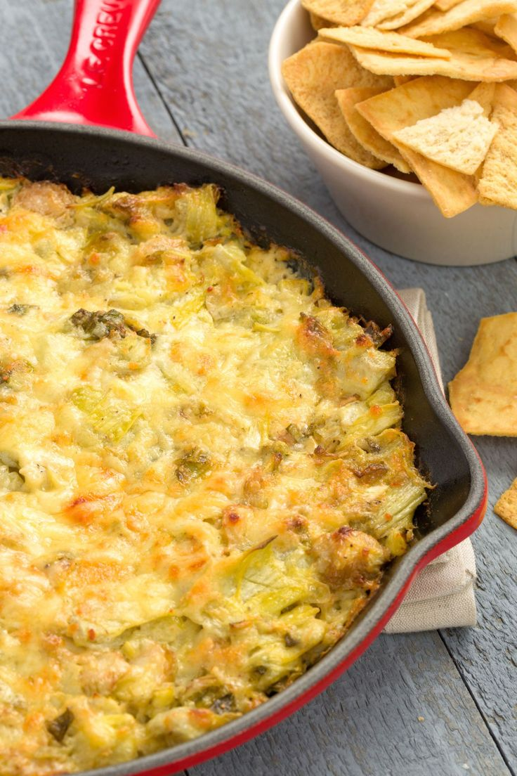 Cheesy Baked Brussels Sprout-Artichoke Dip