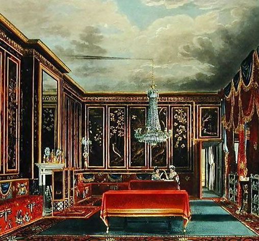 Jappaned room at the Frgmore house.    The Prince Regent, was a notable patron of the arts who collected widely and spent lavishly. His early penchant for the French taste meant he purchased furniture from the collections of the French royal family, which was dispersed following the  Revolution.  3/4 of the population of England and Wales still lived in the countryside. However aristocrats, nobles and the landed gentry found they now had to spend some portion of the year in London.