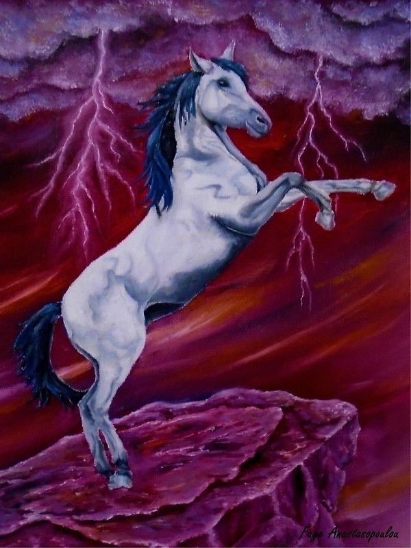 Horse, painting, whimsical,sky,equine,equestrian,animal,wild,wildlife,stallion,motion,movement,action,colorful,red,purple,vivid,colors,standing,upright,on two legs,fantasy,fun,fancy,figurative,unique,artistic,beautiful,cool,awesome,decor,contemporary,modern,virtual,deviant,unique,fine,art,oil,wall art,awesome,cool,image,picture,artwork,for sale,redbubble