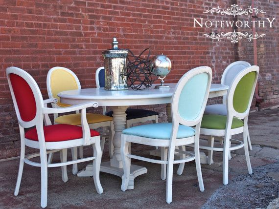 Colorful French Dining Set By Noteworthyhome On Etsy, $1199.99 French Chairs,  Upholstered Dining Chairs · Pedestal Dining TableDining ...