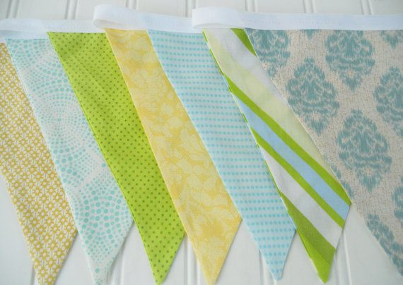 Boy Bunting Fabric Flags Banner Blue by MariaClaireInteriors
