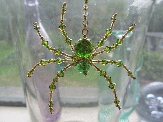Venetian Glass Spider Ornament – Green Beaded Spider – Crystal & Glass Sun Catcher by Spidertown on Etsy