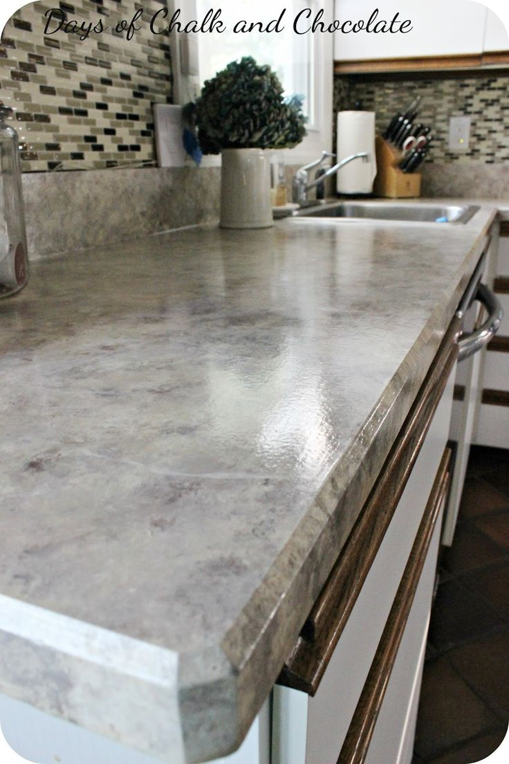 Delightful Days Of Chalk And Chocolate: Painted Faux Stone Countertops
