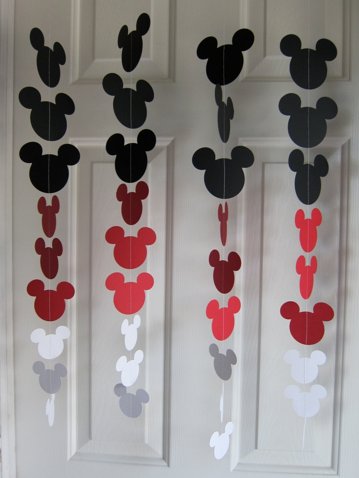 Looks easy to make. Black, Red, and White Mouse Style Garland Strand, Birthday Party Decorations, Mickey Mouse Themed Party Decorations. $22.00, via Etsy. Doesn't disney have paint samples shaped like Mickey????
