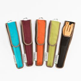 On-the-go utensils don't have to be disposable...bamboo utensils (fork, spoon, knife and chopsticks) are smooth, easy to clean and store 'em in the savvy carrier.