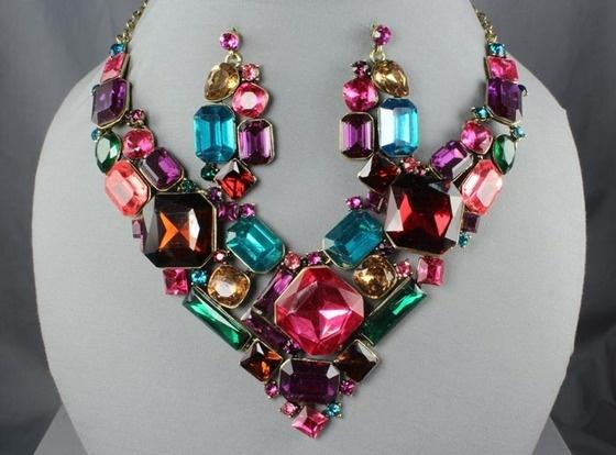 Elegant Multi Color Crystal Chunky Shapes Gold Bib ...