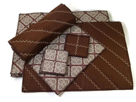 Great deal on a full set of handmade table linens. Brown Placemats Reversible Quilted Set Table Runner by ModernArras