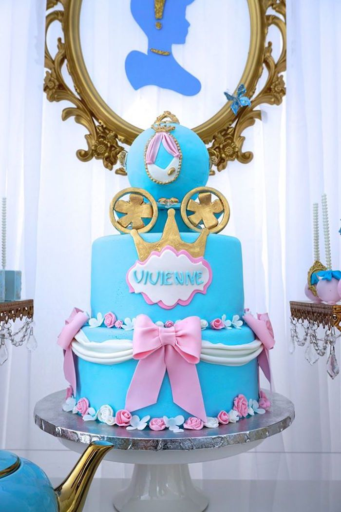 Birthday cake from Fairy Godmother Cinderella Birthday at Kara's Party Ideas. See more at karaspartyideas.com!