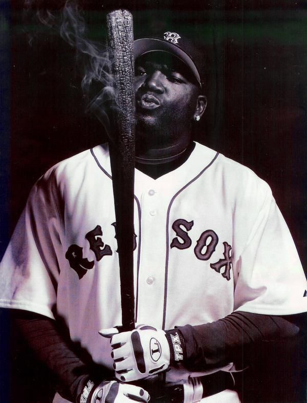David Ortiz. You can't cool off that bat.  I think this picture is on his hot sauce packaging.