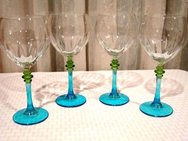 Elegant Green Blue Stem Glasses #Handmade