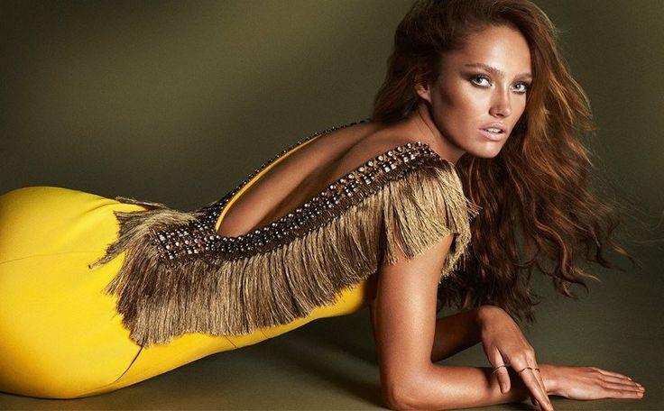 ipekyol spring 2014 campaign1 Karmen Pedaru Gets Bronzed, Glam for Ipekyols Spring 2014 Ads gorgeous yellow dress