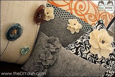 How to Make Chic Pillows: theDIYdish on Studio5! « The DIY Dish  Felt and Organza flower tutorials