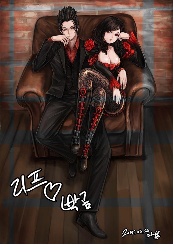Аниме картинка  595x842 с   клинок и душа  mappung-gun (mhg0106)  длинные волосы  высокое изображение  короткие волосы  смотрит на зрителя  лёгкая эротика  чёрные волосы  грудь  красные глаза  сидит  брови  татуировка  девушка  мужчина  рубашка  колготки  обувь  костюм  сапоги до колен