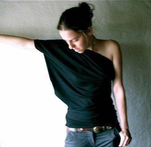Off the shoulder top, One shoulder top, Black top, Yoga top, Jersey top, Draped top, Womens clothing, Party top, Plus size clothing, Petite by larimeloom on Etsy https://www.etsy.com/listing/58144411/off-the-shoulder-top-one-shoulder-top