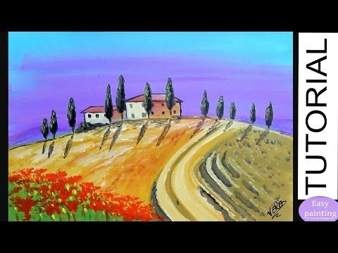 Painting Tutorial TUSCANY Landscape. How to paint Step by Step for beginners - YouTube