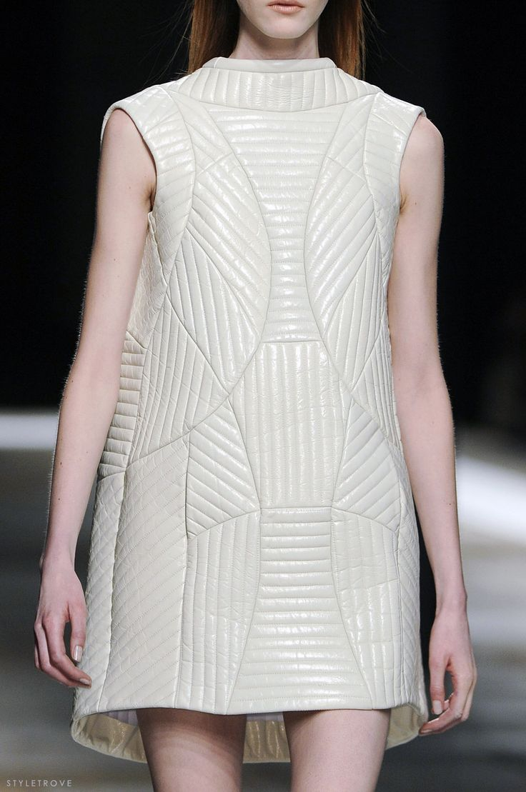 Panelled leather dress with linear stitched patterns; fashion details // Theyskens Theory A/W 2013
