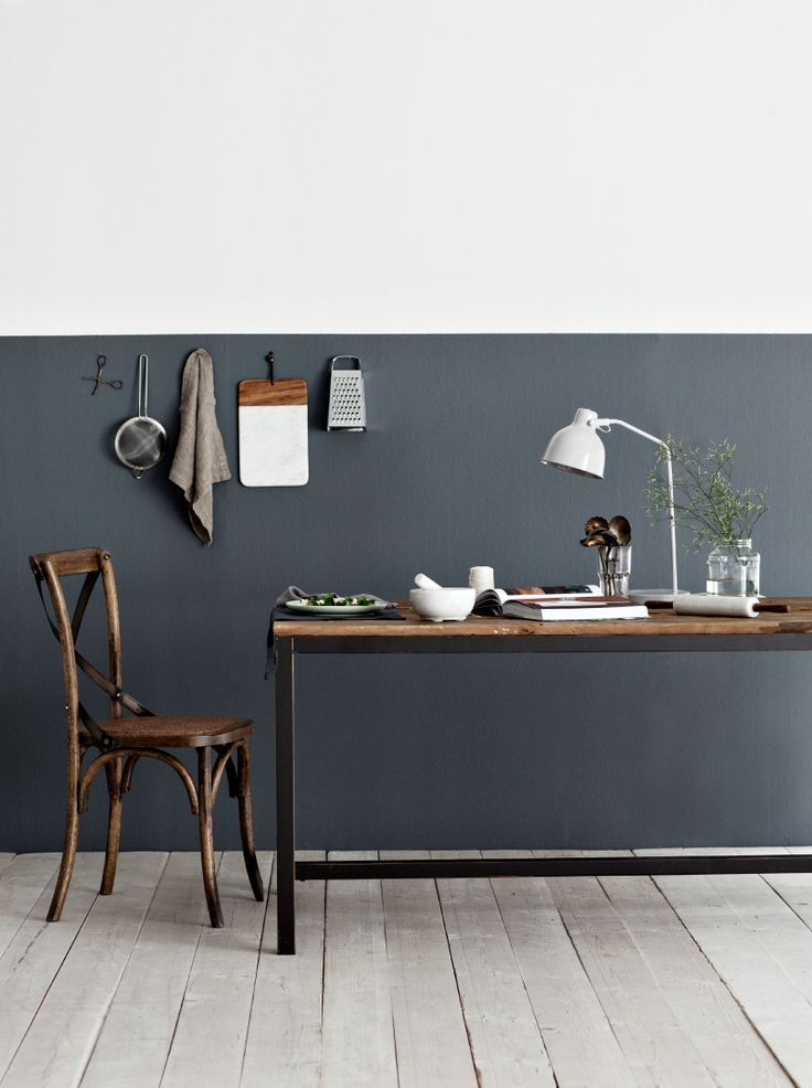 half painted walls scandinavian interior design via http