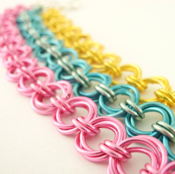 Spring Linked Loops II Chainmaille Bracelet Kit - You PICK Colors - Stylish Chainmaille. $26.00, via Etsy.