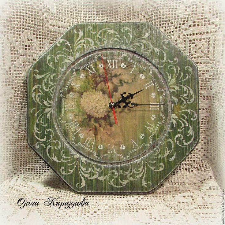 """Купить Набор для кухни """"Гортензия"""" - оливковый, зеленый, часы настенные, часы…"""