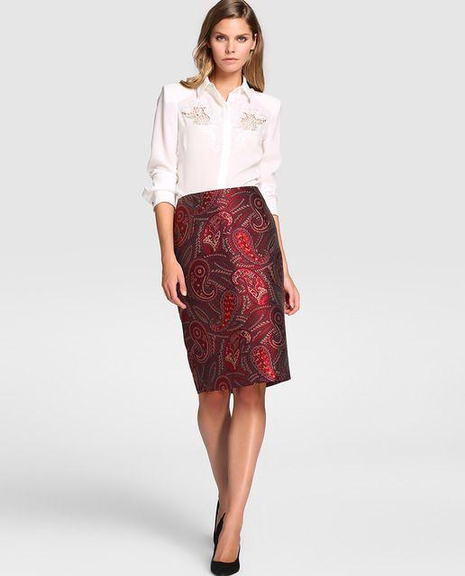 Falda recta con estampado de cachemires