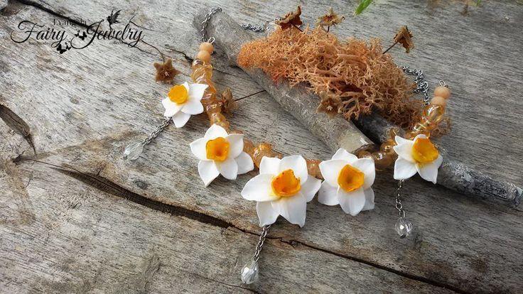 Collana narcisi quarzo acciaio fimo pasta polimerica fatti a mano , by Evangela Fairy Jewelry, 25,00 € su misshobby.com