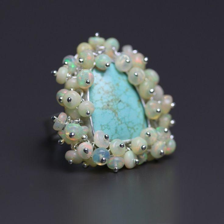 Turquoise with Ethiopian Opal Fringe - size 6.5 – Fuss Jewelry