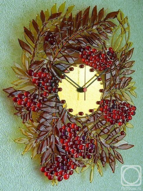 """Ρέπιν Alain.  Διάτρητη ρολόι τοίχου """"φθινόπωρο φωτιά"""" γυαλί fusing"""