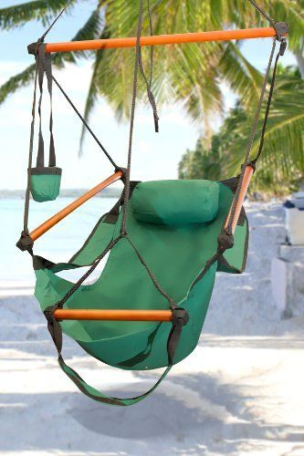 New Deluxe Green Sky Air Chair Swing Hanging Hammock Chair W/ Pillow & Drink Holder by Sky Enterprise USA. $39.95. You are viewing a Brand New Deluxe Air Hammock Swing Chair.  This comfortable hammock is built to last for years.  Perfect for indoor or outdoor use. We buy all of our hammock chairs directly from the factory, providing you with the best prices available. Buy from us and save big!    Brand new in retail packaging  Durable long lasting weather resistant contruction  ...