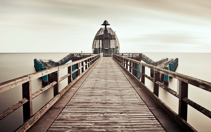 Море, мост, туман, пейзаж обои, картинки, фото