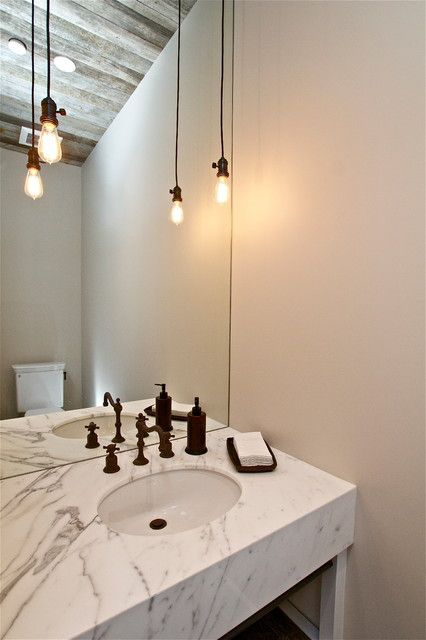 Magnificent Bathroom Lighting Powder Room Farmhouse Design Ideas With Bare  Bulb Pendant Edison Bulb Industrial Marble Countertops Pendant Lighting  Reclaimed ...