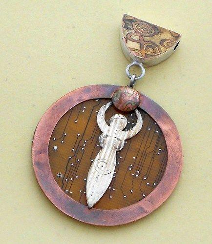 Mokume-Gane Goddess Pendant  with Amber Circuit