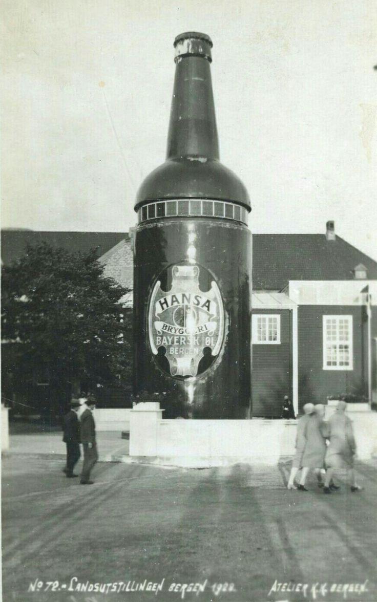 Hordaland fylke Bergen  Fint reklamekort fra HANSA bryggeri ifm LANDSUTSTILLINGEN I BERGEN 1921. Stor ølflaske. Utg K Knudsen, Bergen