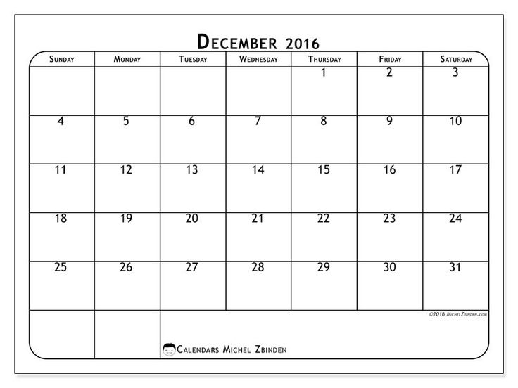 Free! Calendars for December 2016 to print