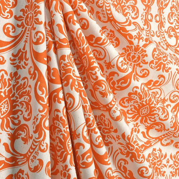 Pair of designer curtains, drapes, panels, 50 X 72 inches, LINED, Abigail Mandarin dosset, orange and natural
