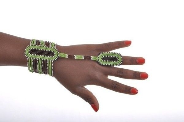 Bracelet Bague AMANI Vert&Marron