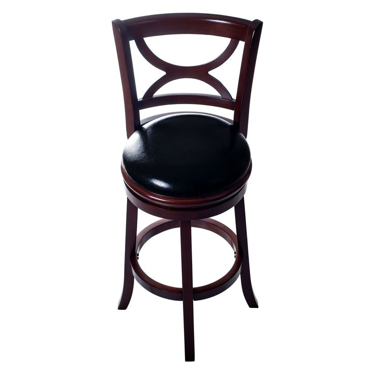 Lavish Home Classic Wooden Swivel Bar Stool With Back (