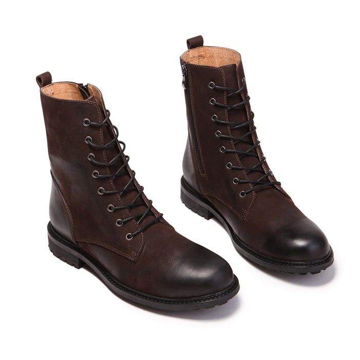 Hot Selling High Top Men Boots Retro Combat Boots Winter England-style Fashionable Men's Short Black Lace Up Thigh High Boots