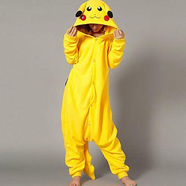 Kigurumi Pijamas Pika Pika Leotardo/Pijama Mono Halloween Ropa de Noche de los Animales Amarillo Retazos Lana Polar Kigurumi Unisex 1026080 2016 – $20.79