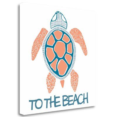"""Tangletown Fine Art 'Coral and Navy Sea Turtle' Graphic Art Print on Wrapped Canvas Size: 18"""" H x 18"""" W"""