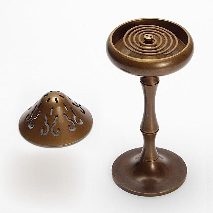 Smoked Brass Incense Burner Copper Coil