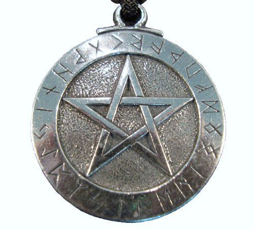 "Pewter Runic Pentacle Pendant Futhark Wicca Wiccan Pagan Pentagram Necklace Gothic Jewelry by Goth Central. $14.99. The Runic Pentacle bears the Runic alphabet, or ""Futhark"" along its perimeter. This 2500 year old Nordic alphabet contains a mystery of wisdom within each letter. With such magical properties encirciling the pentacle, a powerful defense is created which naught dare penetrate!"