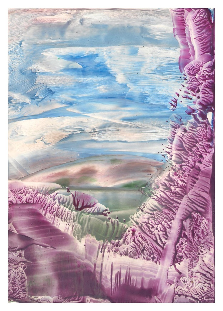 pretty Encaustic art wax fantasy landscape painting.