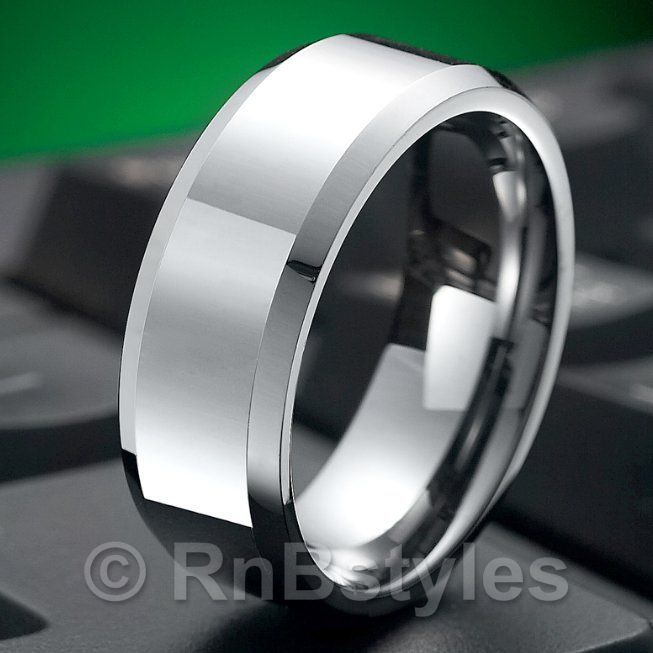 Classic R Solid Tungsten Mens Ring Wedding Band 9mm Silver | RnBJewellery
