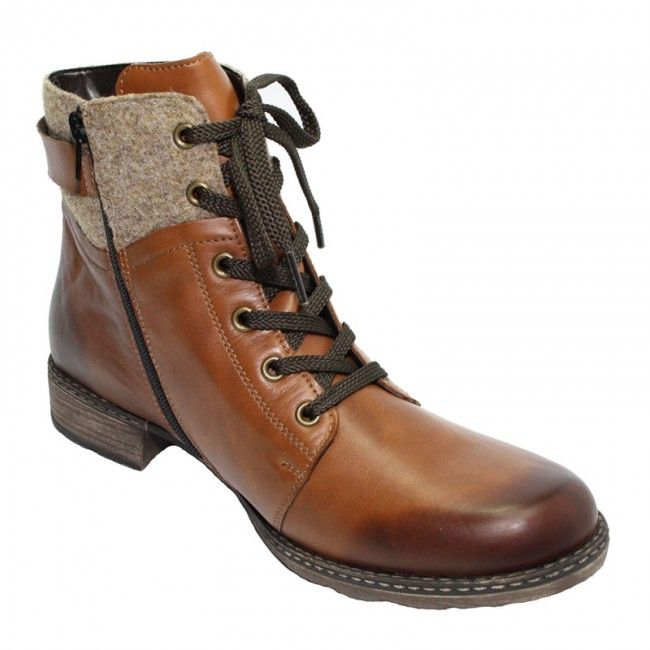 Womens leather ankle boots in brown color. Low heel, laces and rubber non-slip sole. In large sizes from Remonte.