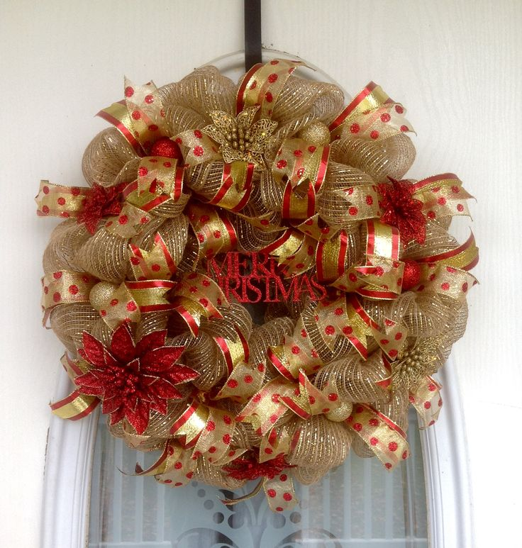 "22"" Burlap/Gold Deco Mesh Christmas Wreath with Red & Gold Glitter Poinsettias, Ornaments, Ribbons & Red Glitter Merry Christmas Sign"