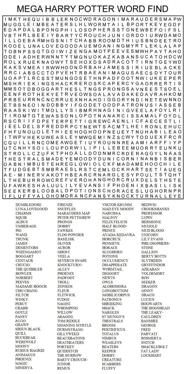 Super hard word searches mega harry potter word find by kinky chichi on