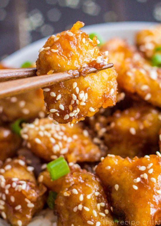 Baked Honey Sesame Chicken- to try without frying the chicken