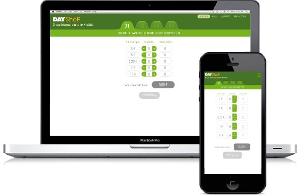 Dayshop, e-commerce dei buoni pasto per aziende e liberi professionisti. Richiedi informazioni sul sito web responsive più essenziale, sicuro, conveniente